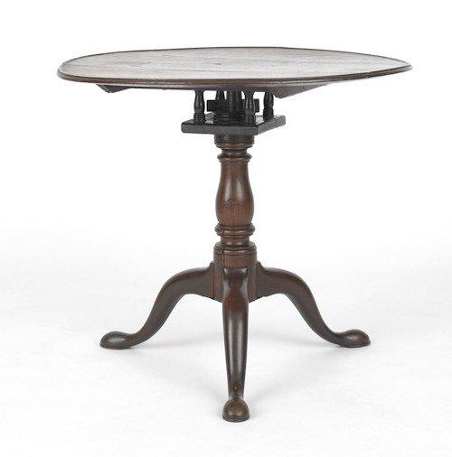 134: Queen Anne walnut tea table, possibly Virginia,