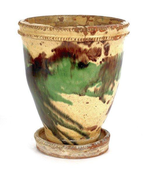 135: Shenandoah Valley redware flower pot, late 19th