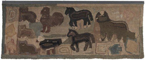 136: Large Pennsylvania hooked Domestic Zoo rug by