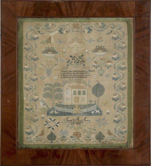 137: Pennsylvania silk on linen sampler, dated 1834