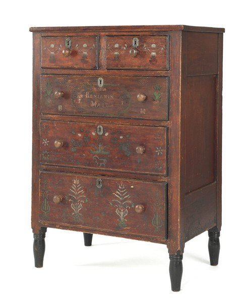 138: Pennsylvania painted pine chest of drawers dated