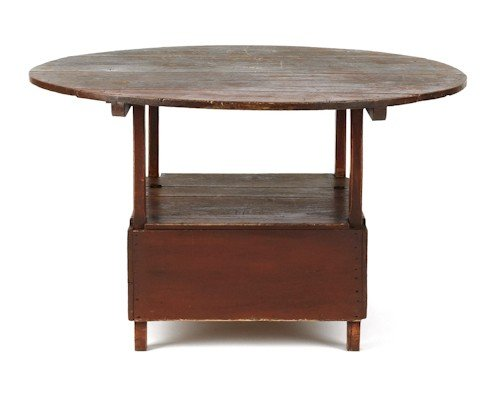 139: New England maple and poplar painted chair table