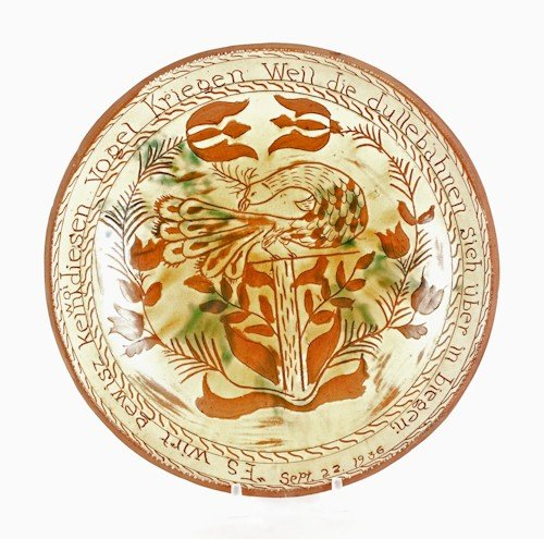 142: Stahl pottery sgraffito and slip decorated redwa