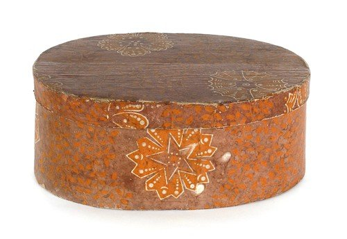 145: Oval wallpaper box, 19th c., with orange and fl