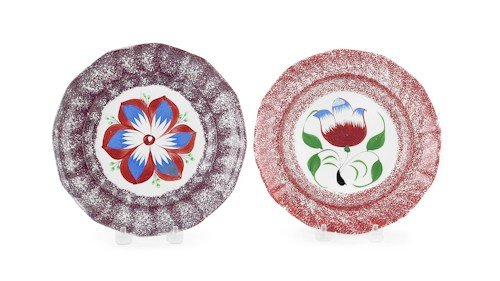 295: Two spatter plates, 19th c., to include purple