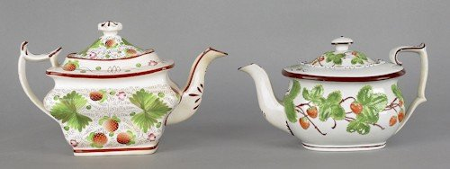 296: Two pearlware strawberry pattern teapots, 19th c