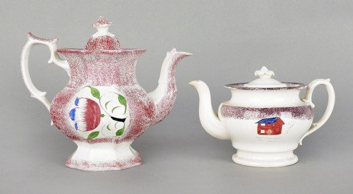 300: Red spatter teapot, 19th c., with a tulip, 9'' h