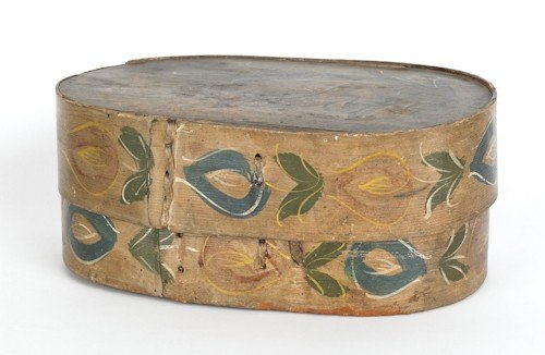 306: Continental painted bentwood bride's box, ca. 18