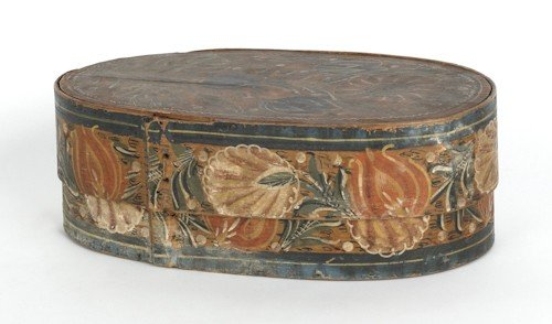 307: Continental painted bentwood bride's box, ca. 18