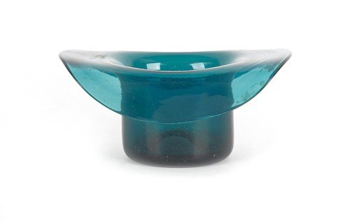 321: Blown teal glass hat whimsey, 19th c., 2 3/4'' h