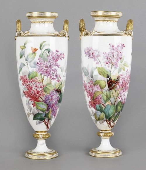 322: Pair of Minton painted porcelain vases, late 19t