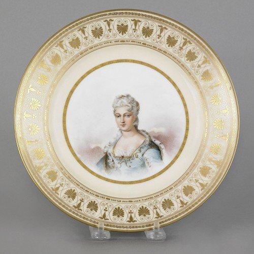 323: Sevres porcelain portrait plate, 19th c., depic