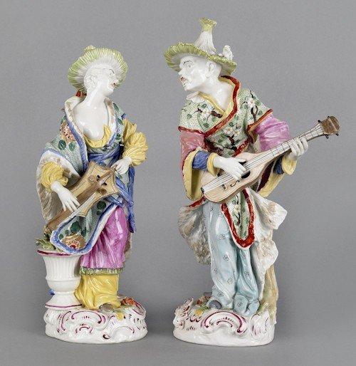326: Pair of Carl Thieme, Dresden porcelain figures,