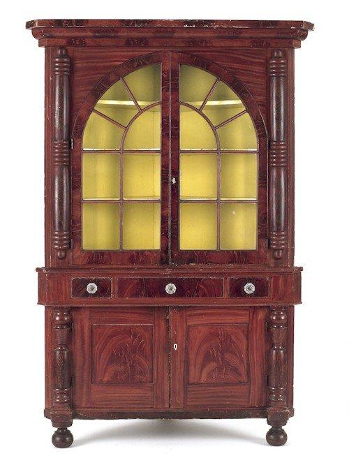 327: Pennsylvania painted two-part corner cupboard, c