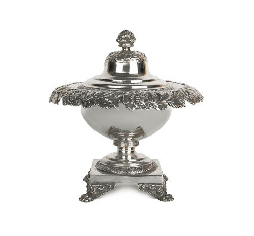 328: Philadelphia coin silver footed bowl and cover,
