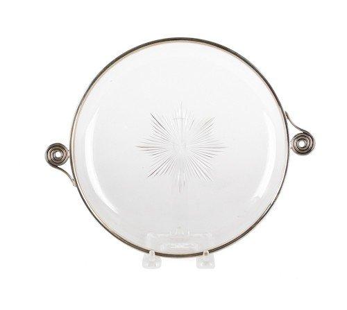 332: Birmingham art deco silver mounted crystal bowl,
