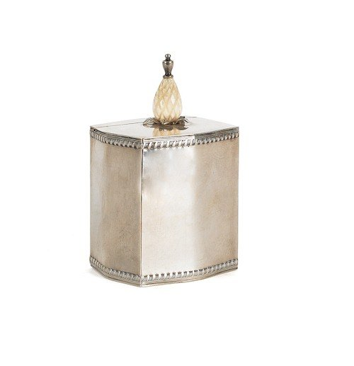 334: Cartier sterling silver caddy, with ivory finia