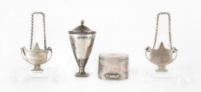 Two Silver Nutmeg Graters, Ca. 1800, Together W