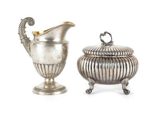 346: German silver tea caddy, late 19th c., bearing