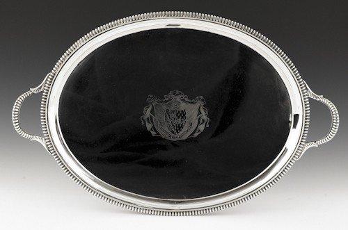347: English silver tray, 1804-1805, bearing the tou