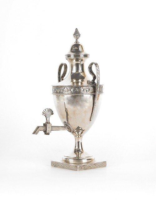 348: Irish silver water urn, ca. 1780, bearing the t