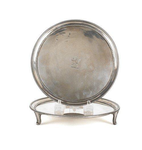 349: Pair of Georgian silver waiters, 1781-1782, bea