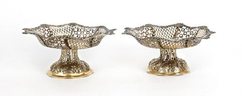 352: Pair of English silver reticulated baskets, 1863