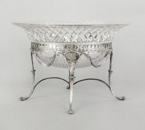 English Cut Glass Bowl On Silver Stand, 1798-179