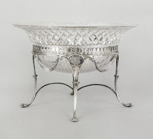 353: English cut glass bowl on silver stand, 1798-179