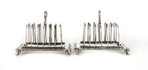 356: Pair of English silver toast racks, 1810-1811,