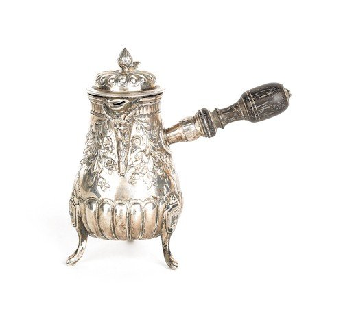 358: French silver hot cream pot, charge mark Paris