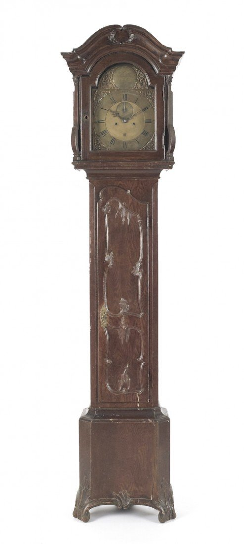 361: George II painted tall case clock, mid 18th c.,