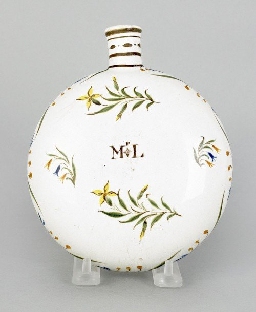 362: English pearlware canteen, ca. 1810, with flora