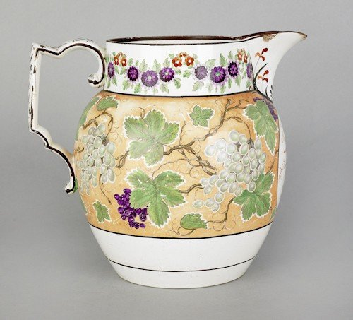 363: Large pearlware pitcher, inscribed Benji Brent