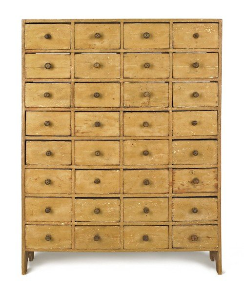 716: Painted pine apothecary cupboard, early 19th c.