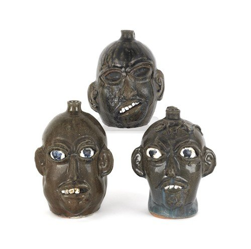 1: Three Georgia stoneware face jugs by Chester Hewe