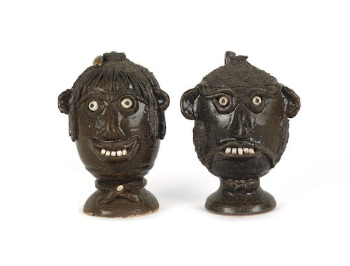4: Two Georgia stoneware face jugs by Flossie Meader