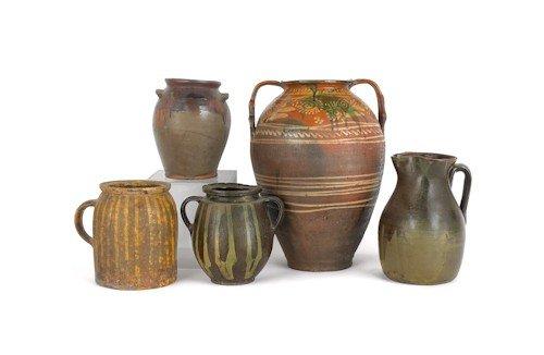 10: Five redware/stoneware crocks, tallest - 17'' h.