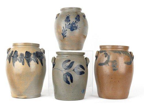 13: Four American stoneware crocks, 19th c., with cob