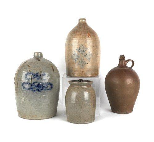 15: Two American stoneware jugs, 19th c., one impress