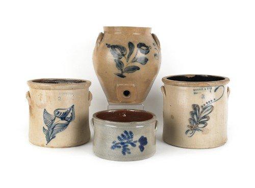 16: Three American stoneware crocks, 19th c., with co