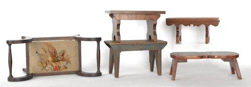 19: Five wooden footstools, 19th c.