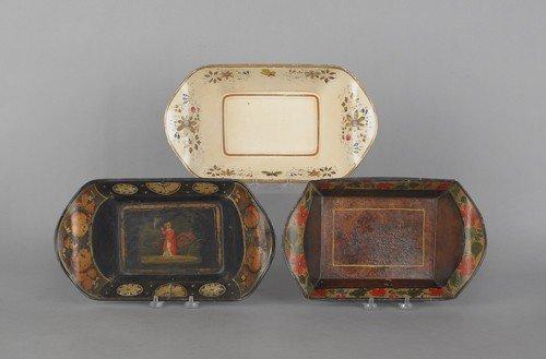 20: Three tole bread trays, 19th c., approx. 3'' h., 1