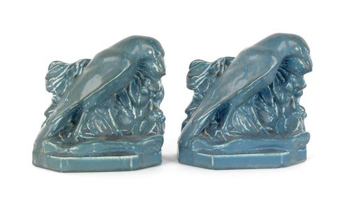 23: Pair of Rookwood pottery rook bookends, 5 3/8'' h.