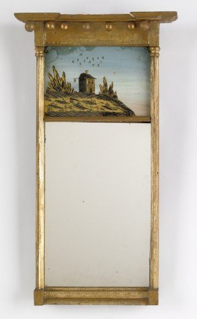 Federal Giltwood Mirror, Ca. 1810, 24'' X 10 1/4''.