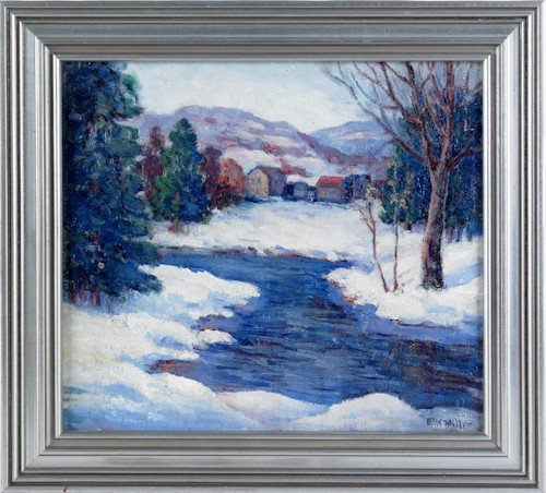 32: Oil on canvas winter landscape, early 20th c., si
