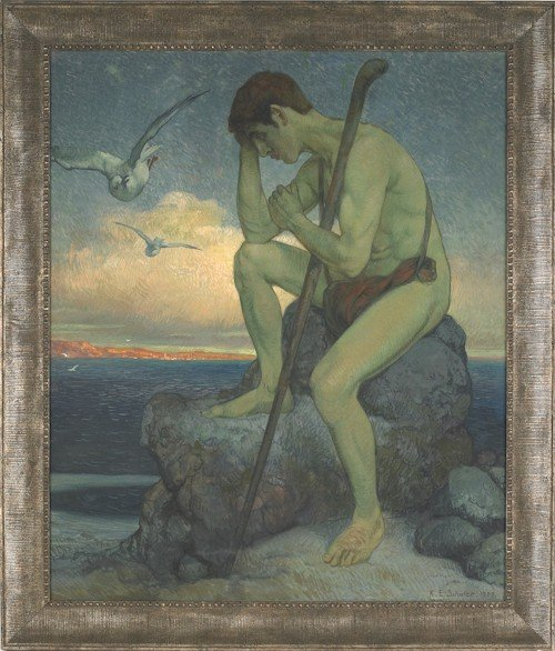33: Oil on canvas illustration of a man seated on a r