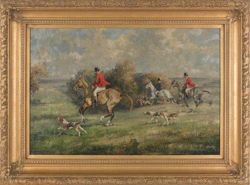 41: Contemporary oil on canvas fox hunting scene, 24''