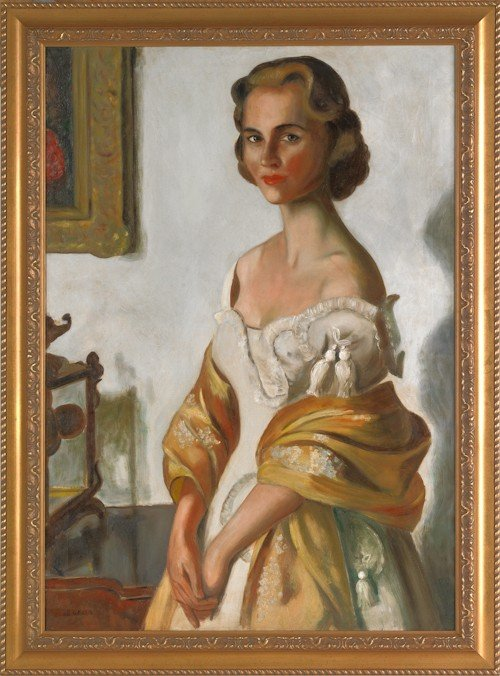 42: Oil on canvas portrait of a woman, ca. 1950, sign