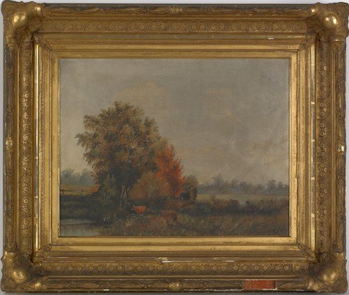 46: Oil on canvas bucolic landscape, 19th c., 15'' x 1